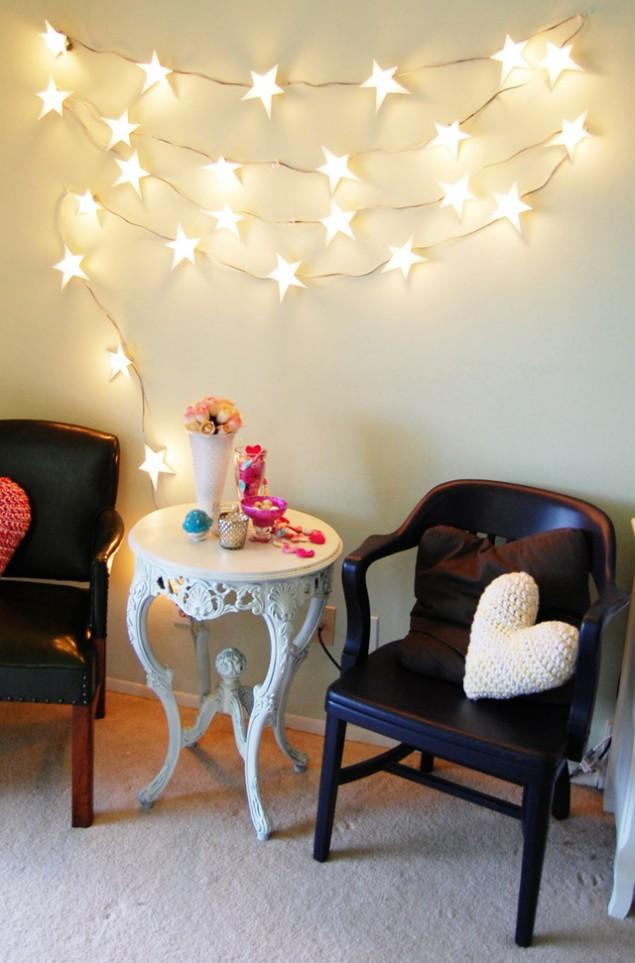 ışıklı duvar dekorasyonu fikri